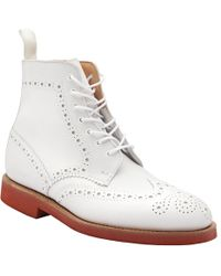 G.H.BASS - White Brogue Boot - Lyst