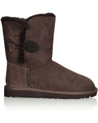 Ugg Suede Mini Bailey Button Boots in Chocolate - Lyst