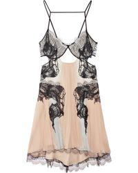 Julien Macdonald Lace-detailed Silk-chiffon Dress - Lyst