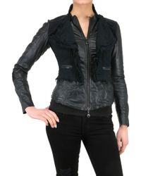 Sonia Villa Cotton Tweed and Leather Jacket black - Lyst