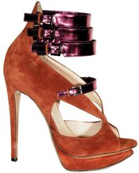 Nicholas Kirkwood 120mm Suede and Laminated Leather Sandal - Lyst