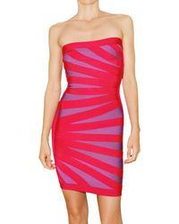 Hervé Léger Engineered Diagonal Banding Dress - Lyst