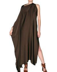 Lanvin Asymmetrical Long Washed Satin Dress - Lyst