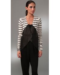 Kimberly Ovitz - Hendron Leather-trimmed Silk-blend Cardigan - Lyst