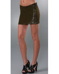 Haute Hippie Mini Bias Sequin Skirt - Lyst