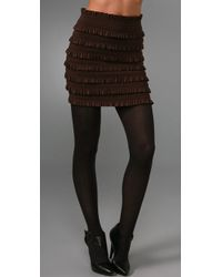 Pleasure Doing Business Coquette Band Miniskirt brown - Lyst