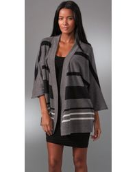 James Perse Striped Poncho Cardigan - Lyst
