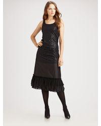 Eileen Fisher Ruffled Silk Taffeta Skirt - Lyst