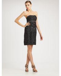 Sue Wong Beaded Strapless Dress - Lyst