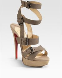 Christian Louboutin Toutenkaboucle Strappy Canvas Sandals brown - Lyst