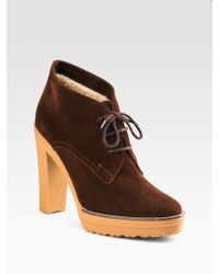Ralph Lauren Collection Trista Lace-up Suede Ankle Boots - Lyst