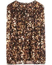 Roberto Cavalli Leopard-Print Silk Blouse - Lyst