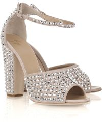 Giuseppe Zanotti Crystal-embellished Suede Sandals - Lyst