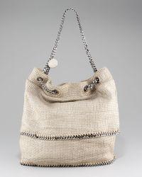 Stella McCartney Chain-strap Tricot Satchel beige - Lyst