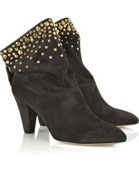 Brian Atwood Studded Suede Ankle Boots - Lyst