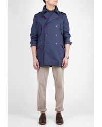 PS by Paul Smith Dark Blue Washed Cotton Summer Pea Coat - Lyst