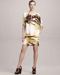 Gianfranco Ferré - Lace-up Tiger-print Dress - Lyst