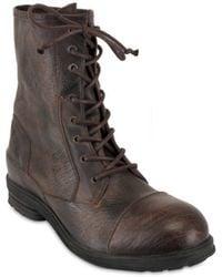 Ksubi Textured Calfskin Lace Up Low Boots - Lyst