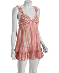 Betsey Johnson Pink Stripe It Rich Chiffon Babydoll Thong Set - Lyst