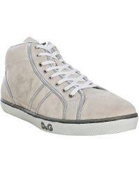 D&G Ice Suede Metallic Trim Hi-top Sneakers - Lyst