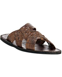 John Varvatos - Dark Ghurka Woven Leather Slide Sandals - Lyst