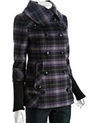 SOIA & KYO - Purple Wool Plaid Heidi Double Breasted Coat - Lyst