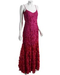 Theia Fuchsia Beaded Paillette Long Dress - Lyst