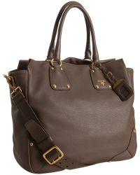 Prada Stone Deerskin Leather Shopping Tote - Lyst