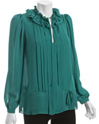 BCBGMAXAZRIA Blue Surf Pintucked Georgette Ruffle Blouse - Lyst