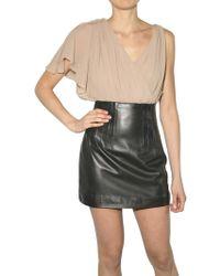 Lublu Leather and Chiffon Dress - Lyst