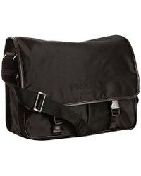 Prada Black Nylon Messenger Bag - Lyst