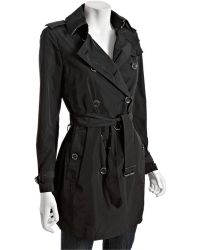 Burberry Brit Black Woven Double Breasted Belted Trench Coat - Lyst