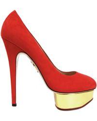 Charlotte Olympia Calf Velvet Dolly Court Shoes - Lyst