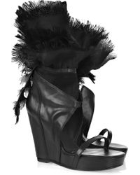 Rick Owens Organza-trimmed Leather Wedge Sandals - Lyst
