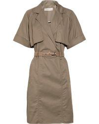 Lela Rose Cotton-crepe Belted Dress - Lyst