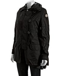 Moncler Black Nylon Blend Sora Funnel Neck Hooded Jacket - Lyst