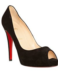 Christian Louboutin Black Suede Very Prive 120 Pumps - Lyst