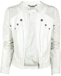 Versace Stitched Leather Jacket - Lyst