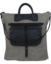 Jas MB - Grey Canvas and Blue Leather Shopper Bag - Lyst