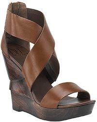 Diane von Furstenberg Opal - Leather Wedge Sandal In Mink - Lyst
