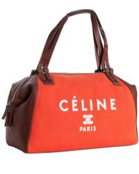 Céline - Poppy Canvas and Leather Logo Print Satchel - Lyst