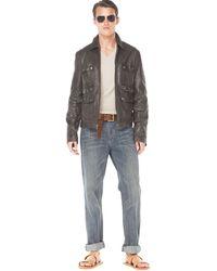 Michael Kors Leather Multi-pocket Jacket, V-neck Sweater & Classic-fit Denim Jeans - Lyst