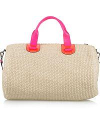 Meredith Wendell | Large Leather-trimmed Raffia Duffel Bag | Lyst