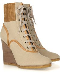 Chloé Mountain Canvas Wedge Boots beige - Lyst
