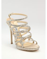 Jimmy Choo Suede & Crystal Strappy Sandals - Lyst