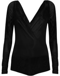 Donna Karan New York Stretch-jersey Wrap-effect Bodysuit - Lyst