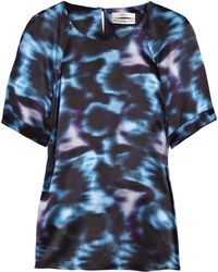 Erdem Millicent Printed Silk-satin Top - Lyst