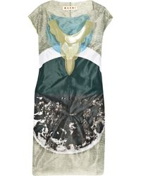 Marni Rubber-necklace Printed Gauze Dress - Lyst