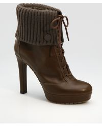 Gucci Lara Lace-up Ankle Boots brown - Lyst