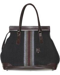 Burberry Prorsum Calfskin and Wool Felt Top Handle gray - Lyst